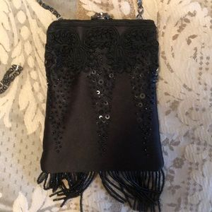 Talbots Beaded Evening Bag w/ Charcoal Chain